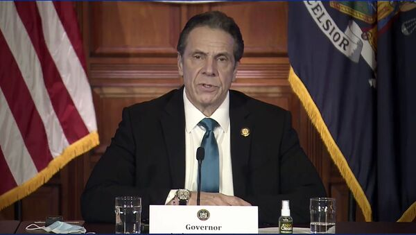 In this image taken from video, New York Gov. Andrew Cuomo speaks during a news conference Friday, Feb. 19, 2021, in Albany, N.Y. - Sputnik International