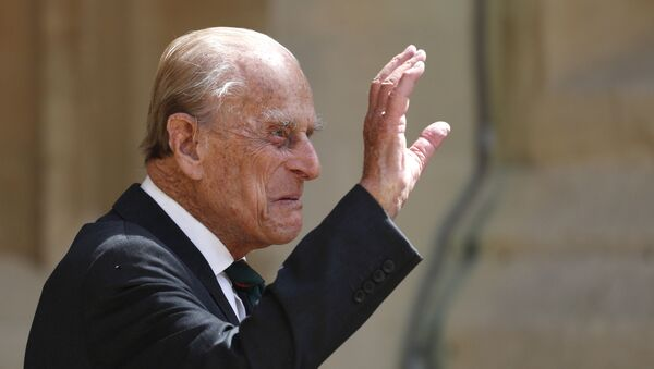In this Wednesday July 22, 2020 file photo, Britain's Prince Philip arrives for a ceremony for the transfer of the Colonel-in-Chief of the Rifles from himself to Camilla, Duchess of Cornwall, at Windsor Castle, England - Sputnik International