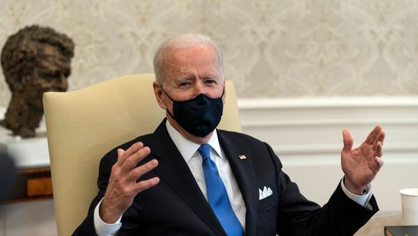 U.S. President Joe Biden speaks during a bipartisan meeting on cancer legislation in the Oval Office at the White House in Washington, U.S., March 3, 2021 - Sputnik International