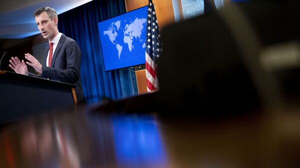 State Department spokesman Ned Price speaks during a news conference at the State Department in Washington, Tuesday, Feb. 16, 2021.  - Sputnik International