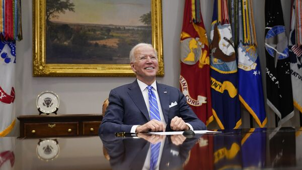 President Joe Biden congratulates NASA's Jet Propulsion Laboratory Mars 2020 Perseverance team for successfully landing on Mars during a virtual call in the Roosevelt Room at the White House, Thursday, March 4, 2021 - Sputnik International