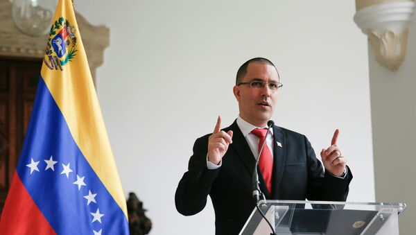 Venezuela's Foreign Minister Jorge Arreaza gestures as he speaks to the media at the Foreign Ministry headquarters in Caracas, Venezuela February 24, 2021. - Sputnik International