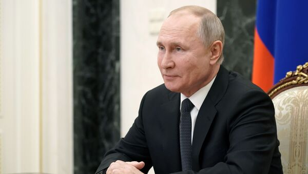 February 26, 2021. Russian President Vladimir Putin is holding an operational meeting with permanent members of the Russian Security Council via videoconference. - Sputnik International