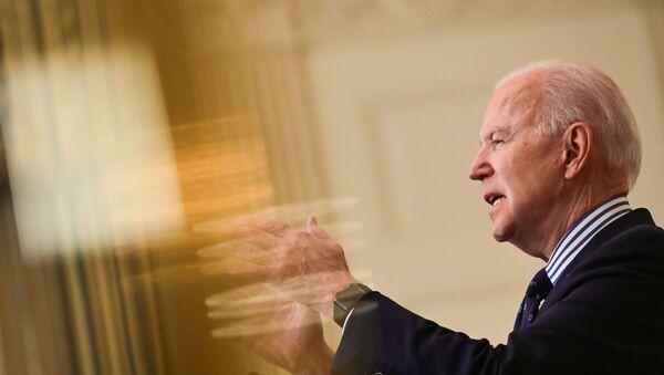 U.S. President Joe Biden makes remarks from the White House after his coronavirus pandemic relief legislation passed in the Senate, in Washington, U.S. March 6, 2021 - Sputnik International