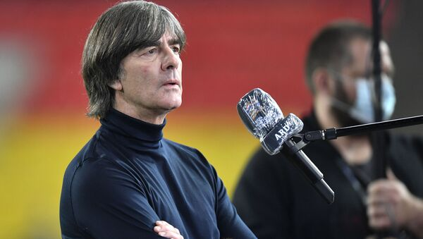 FILE - In this Tuesday, Oct. 13, 2020 file photo, Germany's head coach Joachim Loew is interviewed ahead of the UEFA Nations League soccer match between Germany and Switzerland in Cologne, Germany. Loew on Tuesday, Nov. - Sputnik International