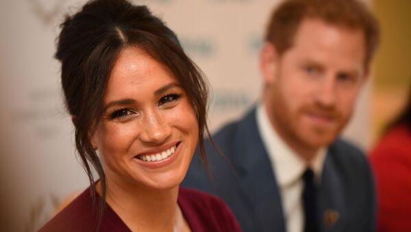 Britain's Meghan, the Duchess of Sussex, and Prince Harry, Duke of Sussex, attend a roundtable discussion on gender equality with The Queen's Commonwealth Trust (QCT) and One Young World at Windsor Castle, Windsor, Britain October 25, 2019 - Sputnik International