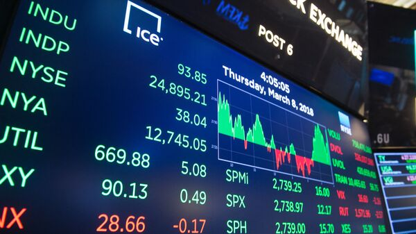 The day's closing numbers are displayed after the closing bell of the Dow Industrial Average at the New York Stock Exchange on March 8, 2018 in New York. - Sputnik International