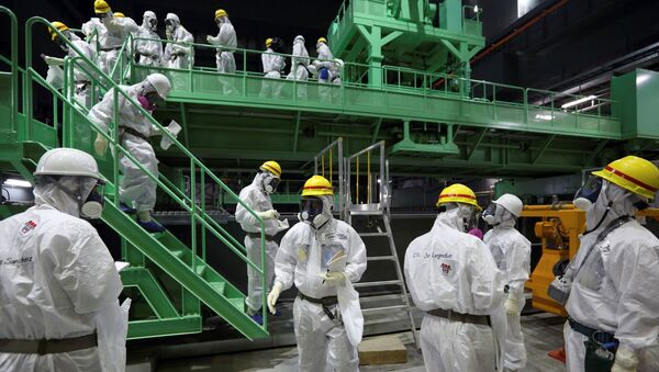 FILE PHOTO: Members of the media and Tokyo Electric Power Co. (TEPCO) employees wearing protective suits and masks walk down the steps of a fuel-handling machine at the spent fuel pool inside the No.4 reactor building at the tsunami-crippled TEPCO's Fukushima Daiichi nuclear power plant in Fukushima prefecture November 7, 2013.  - Sputnik International