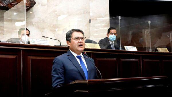 Honduras' President Juan Orlando Hernandez addresses the Congress to inform about security and organized crime, in Tegucigalpa, Honduras February 24, 2021 - Sputnik International