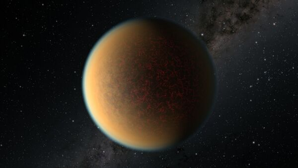 This is an artist's impression of the Earth-sized, rocky exoplanet GJ 1132 b, located 41 light-years away around a red dwarf star. Scientists using NASA's Hubble Space Telescope have found evidence this planet may have lost its original atmosphere but gained a second one that contains a toxic mix of hydrogen, methane and hydrogen cyanide. - Sputnik International