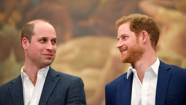 Britain's Prince William and Prince Harry attend the opening of the Greenhouse Sports Centre in central London, April 26, 2018 - Sputnik International