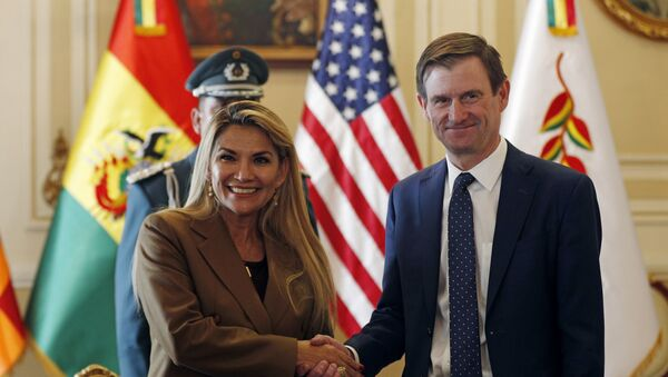 Bolivian interim President Jeanine Anez, left, shakes hands with David Hale, U.S. Undersecretary of State for Political Affairs, during a photo opportunity at the presidential palace in La Paz, Bolivia, Tuesday, Jan. 21, 2020. - Sputnik International