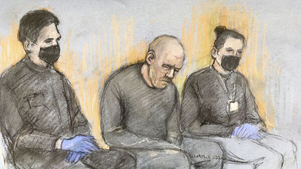This court artist sketch by Elizabeth Cook shows serving police constable Wayne Couzens, center appearing in the dock at Westminster Magistrates' Court, in London, Saturday, March 13, 2021 - Sputnik International