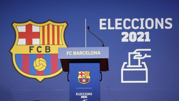 Soccer Football - FC Barcelona elect a new club President - Camp Nou, Barcelona, Spain - March 7, 2021 General view of the lectern during the election - Sputnik International