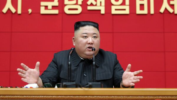 North Korea's leader Kim Jong Un speaks during the first short course for chief secretaries of the city and county party committees in Pyongyang, North Korea, in this undated photo released on March 5, 2021 by North Korea's Korean Central News Agency (KCNA).  - Sputnik International