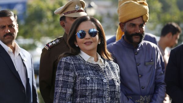 Nita Ambani, wife of Reliance Industries Chairman Mukesh Ambani, arrives at the IPL auction in Jaipur, India, Tuesday, Dec. 18, 2018. Reliance Industries is the owner of Mumbai Indians - Sputnik International