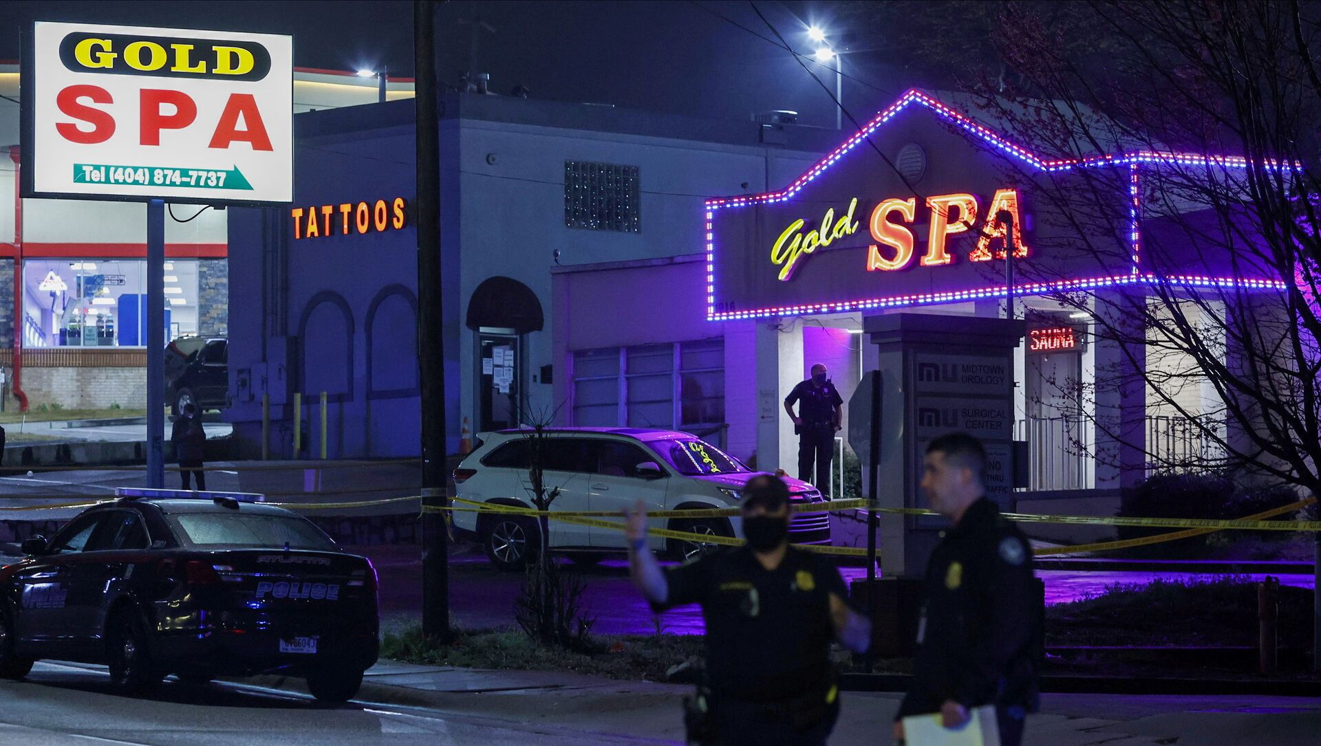 City of Atlanta police officers are seen outside of Gold Spa after deadly shootings at a massage parlor and two day spas in the Atlanta area, in Atlanta, Georgia, U.S. March 16, 2021. REUTERS/Chris Aluka Berry   - Sputnik International, 1920, 27.07.2021