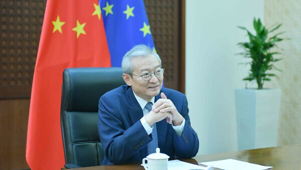 Ambassador Zhang Ming, Head of the Chinese Mission to the EU, gives an interview to CGTN Europe correspondent Nawied Jabarkhyl in June 2020 - Sputnik International