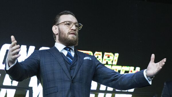UFC fighter Conor McGregor gestures during a news conference in Moscow, Russia, Thursday, Oct. 24, 2019.  - Sputnik International