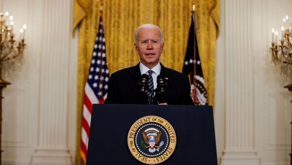 U.S. President Joe Biden speaks about the state of vaccinations during a coronavirus disease (COVID-19) response event in the East Room at the White House in Washington, U.S., March 18, 2021. - Sputnik International
