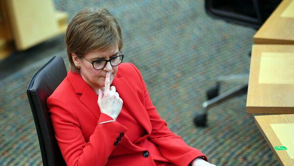 Scotland's First Minister Nicola Sturgeon attends First Minister's Questions at the Scottish Parliament in Edinburgh, Scotland, Britain March 18, 2021.  - Sputnik International