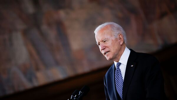 U.S. President Joe Biden delivers remarks after a meeting with Asian-American leaders to discuss the ongoing attacks and threats against the community, during a stop at Emory University in Atlanta, Georgia, U.S., March 19, 2021. - Sputnik International