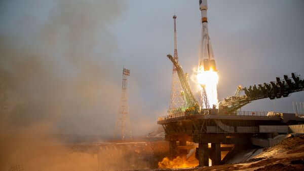 The Soyuz spacecraft with the Arktika-M satellite for monitoring the climate and environment in the Arctic, blasts off from the launchpad at the Baikonur Cosmodrome, Kazakhstan February 28, 2021. - Sputnik International