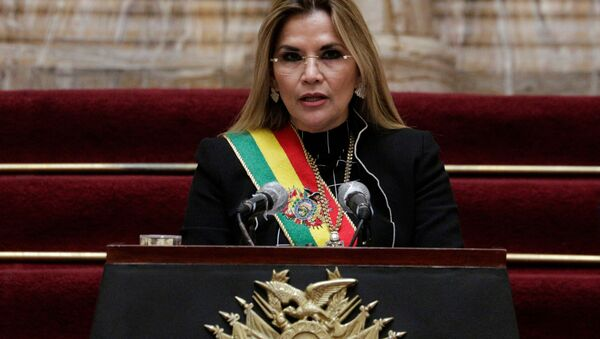 Bolivia's interim President Jeanine Anez speaks during a ceremony marking the 195th anniversary of the Bolivia foundation at the presidential palace, amid the coronavirus disease (COVID-19) outbreak, in La Paz, Bolivia, August 6, 2020. - Sputnik International