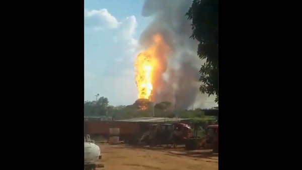 A screenshot from the video of the explosion at a gas pipeline in Venezuela posted on Twitter on March 21, 2021. - Sputnik International