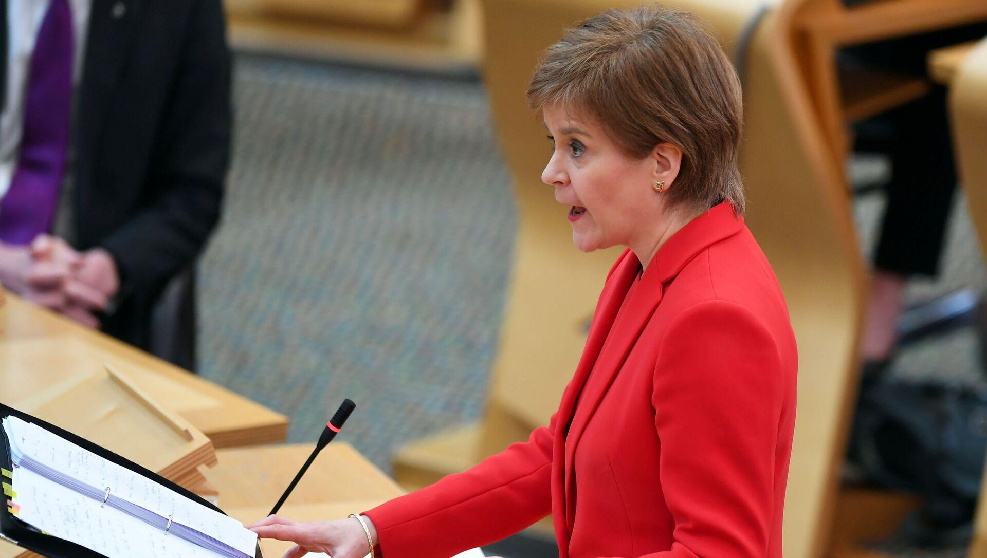 Scotland's First Minister Nicola Sturgeon attends First Minister's Questions at the Scottish Parliament in Edinburgh, Scotland, Britain March 18, 2021 - Sputnik International, 1920, 23.03.2021