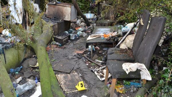 The remains of a hut in Ilford, east London which was set on fire killing Ionut Manea in June 2019 - Sputnik International