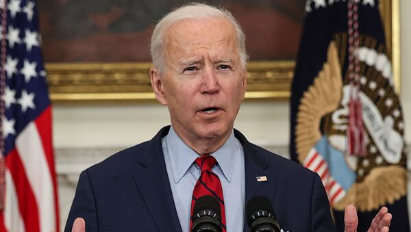 U.S. President Joe Biden speaks about the mass shooting in Colorado from the State Dining Room at the White House in Washington, U.S., March 23, 2021. - Sputnik International