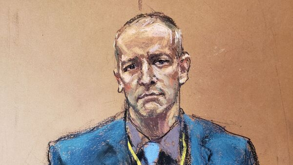 Derek Chauvin, the former Minneapolis police officer facing murder charges in the death of George Floyd, is introduced to potential jurors during jury selection in his trial in Minneapolis, Minnesota, U.S., March 15, 2021 in this courtroom sketch from a video feed of the proceedings - Sputnik International