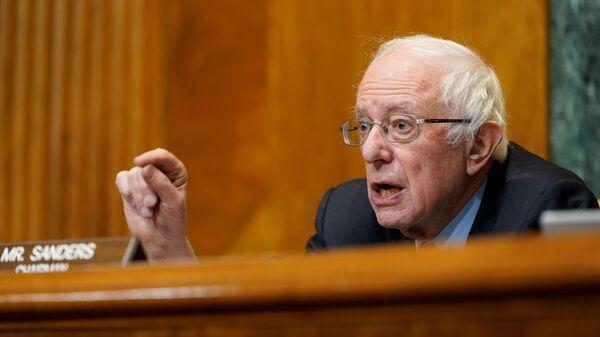 Senate Budget Committee Chairman Sen. Bernie Sanders, I-Vt., speaks during a hearing examining wages at large profitable corporations on Capitol Hill in Washington, U.S. February 25, 2021 - Sputnik International