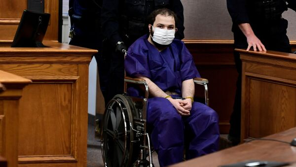 King Soopers shooting suspect Ahmad Al Aliwi Alissa, 21, appears before Boulder District Court Judge Thomas Mulvahill at the Boulder County Justice Center in Boulder, Colorado, U.S. March 25, 2021 - Sputnik International