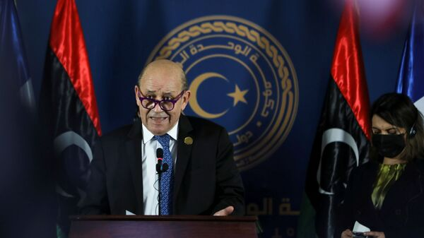 French Foreign Minister Jean-Yves Le Drian speaks as he delivers a joint statement with German Foreign Minister Heiko Maas, Italian Foreign Minister Luigi Di Maio, and Libyan Foreign Minister Najla el-Mangoush, in Tripoli - Sputnik International