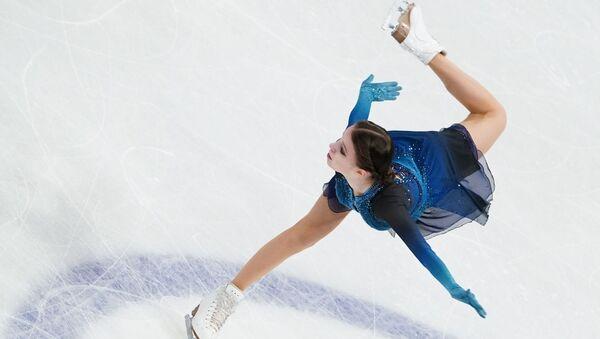 Russia's Anna Shcherbakova performing her short program in ladies' singles at 2021 World Figure Skating Championships in Stockholm, Sweden - Sputnik International