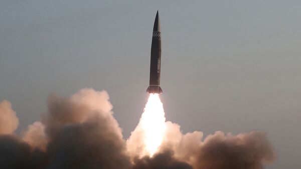 A newly developed new-type tactical guided projectile, which KCNA reports is launched on March 25, 2021, is pictured in this photo released March 26, 2021 by North Korea's Korean Central News Agency (KCNA) in Pyongyang, North Korea. - Sputnik International