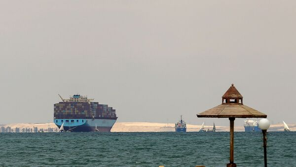 Ships are anchored outside the Suez Canal, where a container ship ran aground and blocked traffic, near Ismailia, Egypt, March, 28, 2021. - Sputnik International