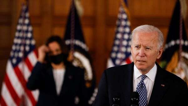 U.S. President Joe Biden and Vice President Kamala Harris deliver remarks after a meeting with Asian-American leaders to discuss the ongoing attacks and threats against the community, during a stop at Emory University in Atlanta, Georgia, U.S., March 19, 2021 - Sputnik International