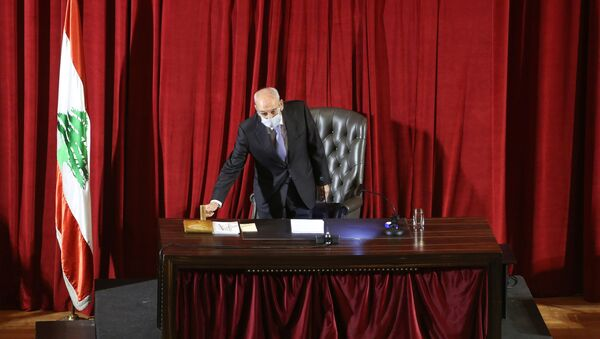 Lebanese Parliament Speaker Nabih Berri heads a legislative session at UNESCO Palace in Beirut, Lebanon March 12, 2021. - Sputnik International