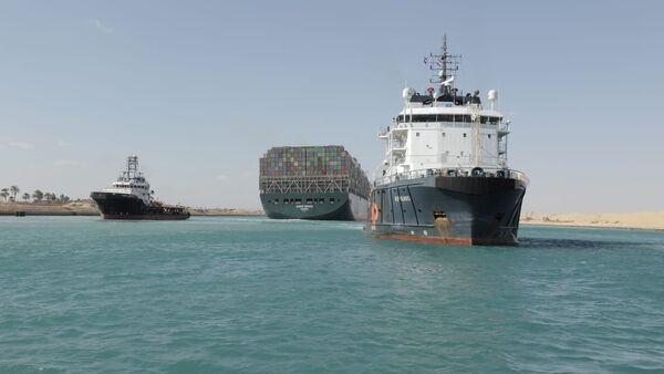 Ship Ever Given, one of the world's largest container ships, is seen after it was fully floated in Suez Canal, Egypt March 29, 2021. - Sputnik International