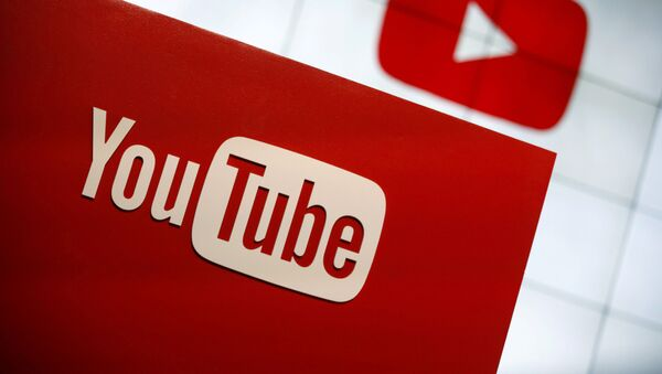 YouTube logo at the YouTube Space LA in Playa Del Rey, Los Angeles, California, United States October 21, 2015 - Sputnik International