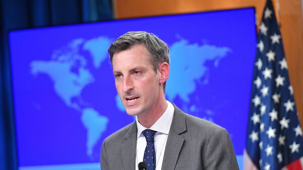 U.S. State Department spokesman Ned Price speaks during the release of the 2020 Country Reports on Human Rights Practices at the State Department in Washington, DC, U.S., March 30, 2021. - Sputnik International