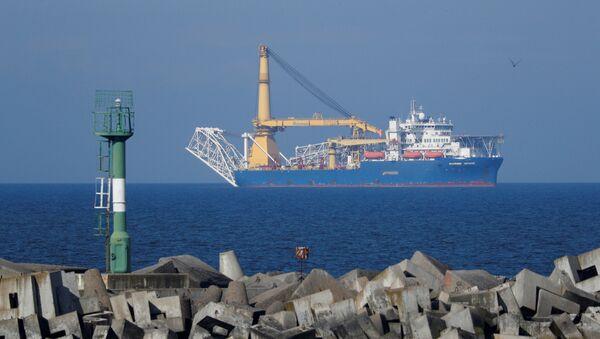 Pipe-laying vessel Akademik Cherskiy owned by Gazprom, is seen in a bay near the Baltic Sea port of Baltiysk, Kaliningrad region, Russia May 3, 2020. - Sputnik International