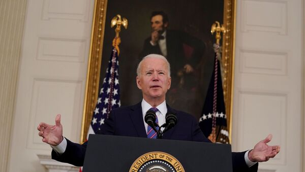 U.S. President Joe Biden delivers remarks on the Department of Labor's March jobs report from the State Dining Room at the White House in Washington, D.C., U.S.,  April 2, 2021. - Sputnik International