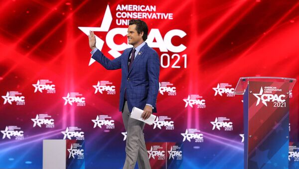 Rep. Matt Gaetz (R-FL) addresses the Conservative Political Action Conference being held in the Hyatt Regency on February 26, 2021 in Orlando, Florida. Joe Raedle/Getty Images/AFP (Photo by JOE RAEDLE / GETTY IMAGES NORTH AMERICA / Getty Images via AFP) - Sputnik International