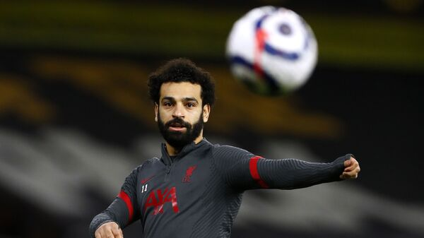 Liverpool's Mohamed Salah during the warm up before the match on March 15, 2021 - Sputnik International
