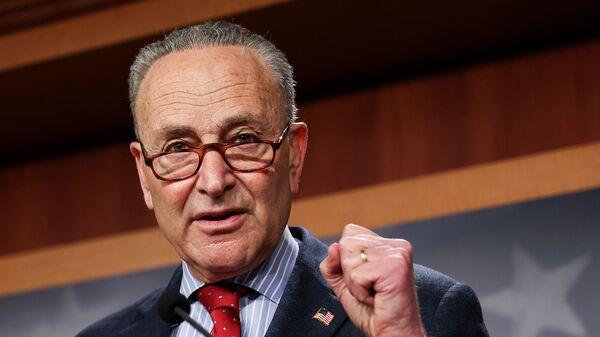 U.S. Senate Majority Leader Chuck Schumer (D-NY) touts Senate Democrats legislative accomplishments as he holds a news conference at the U.S. Capitol in Washington, U.S., March 25, 2021. - Sputnik International