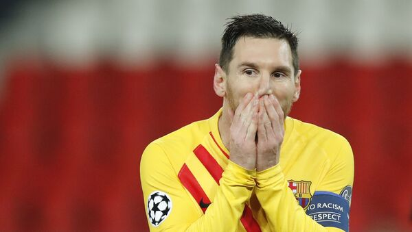 Barcelona's Lionel Messi reacts after a missed a penalty shot during the Champions League, round of 16, second leg soccer match between Paris Saint-Germain and FC Barcelona at the Parc des Princes stadium in Paris on Wednesday, March 10, 2021 - Sputnik International